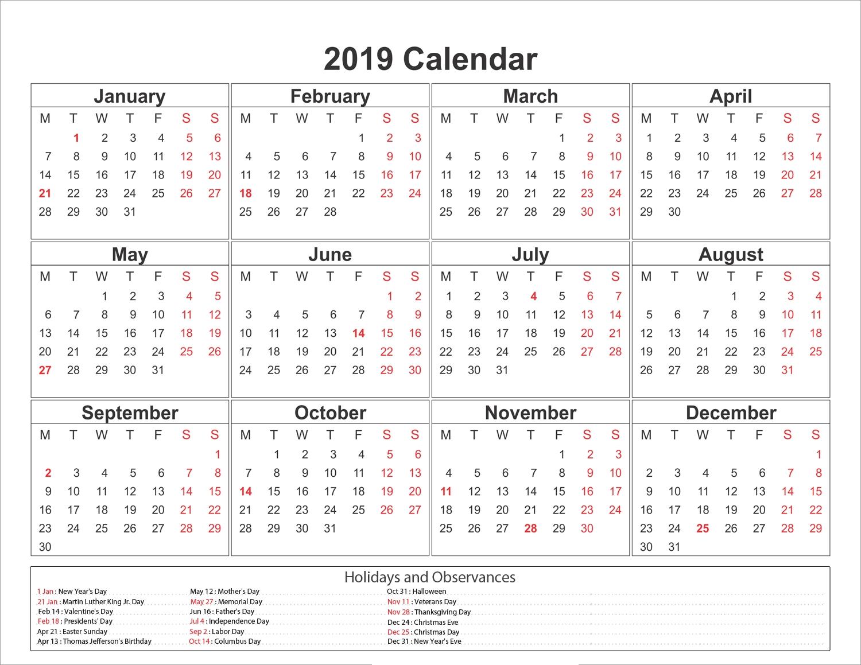 Blank Printable Calendar 2019 With Holidays | Printableshelter_8 X 11 Blank Calendar Template