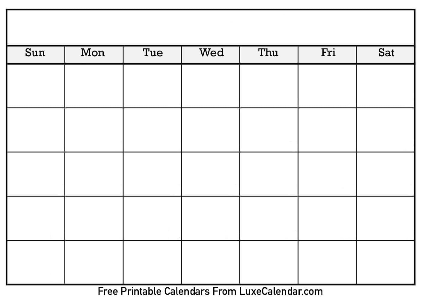Blank Printable Calendar - Luxe Calendar_Calendar Blank Month Template