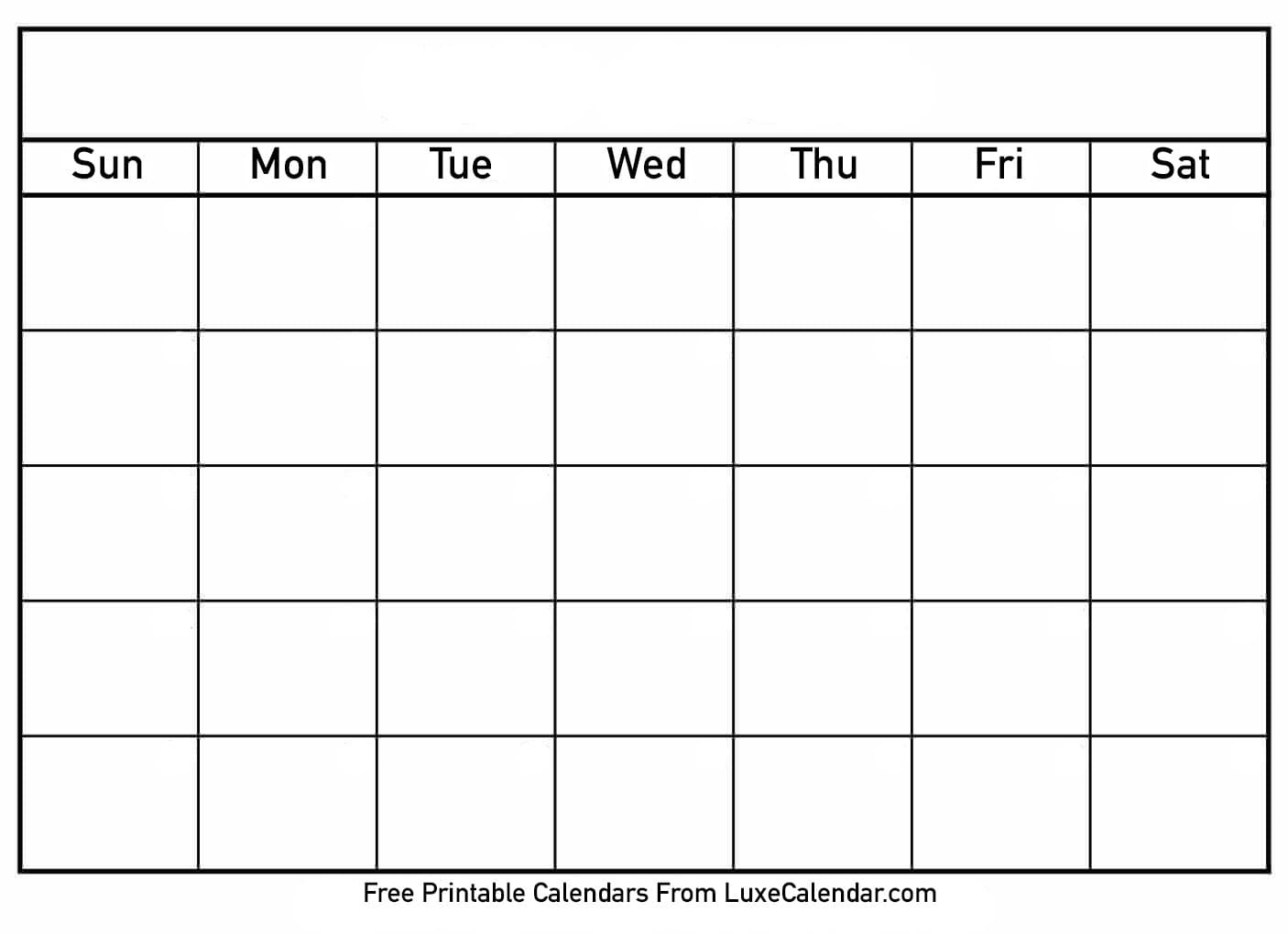 Blank Printable Calendar - Luxe Calendar_Free Printable Calendar Blank