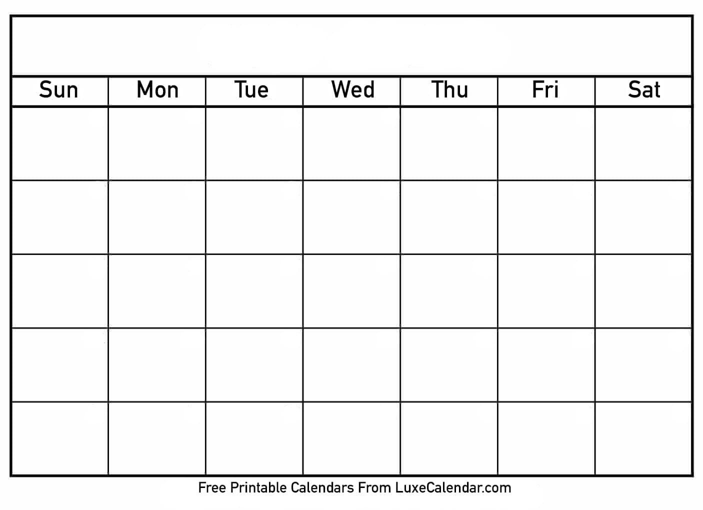 Blank Printable Calendar - Luxe Calendar_Print A Blank Calendar Page