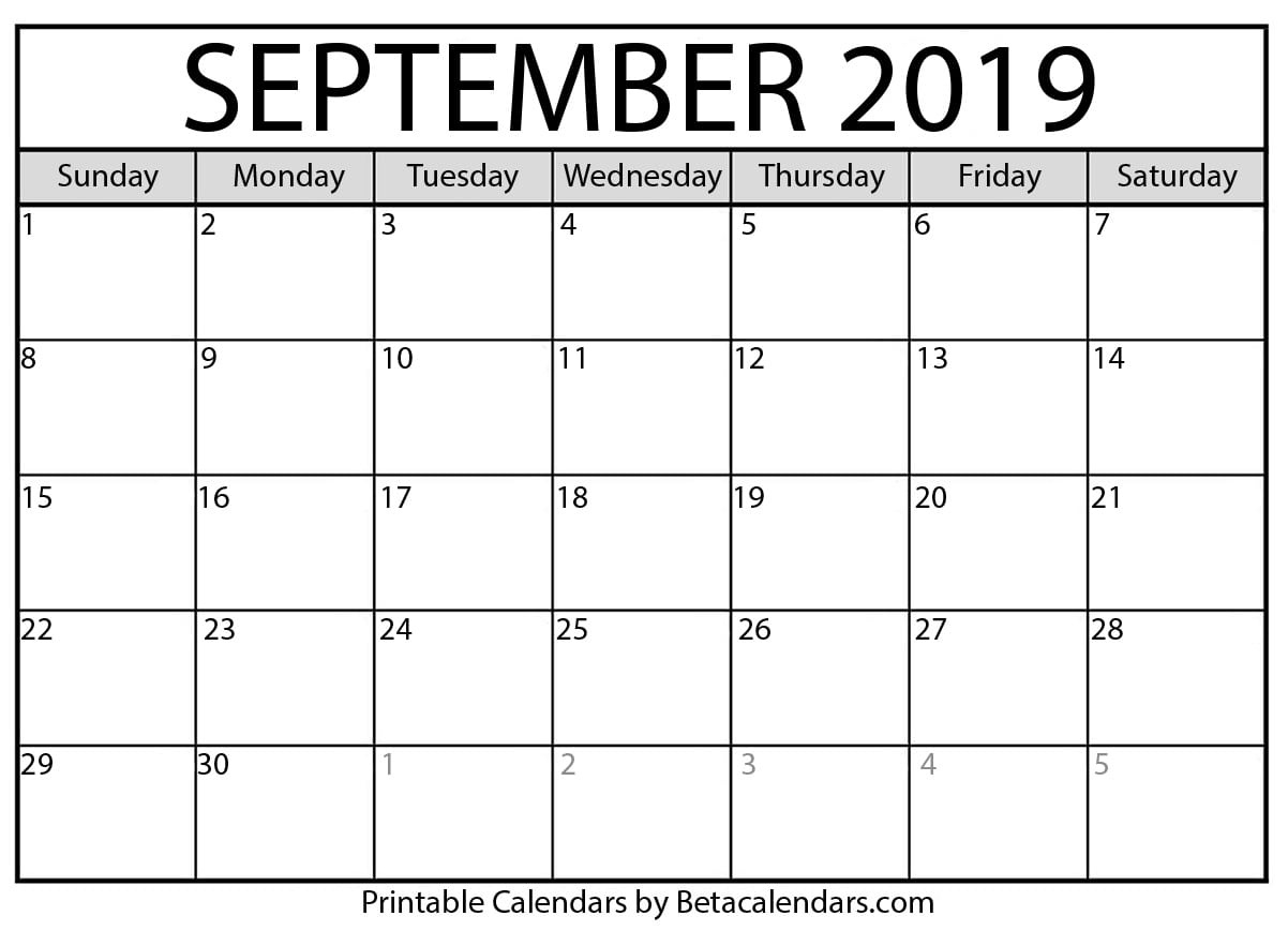 Blank September 2019 Calendar Printable - Beta Calendars_Calendar 2019 Printing Chennai