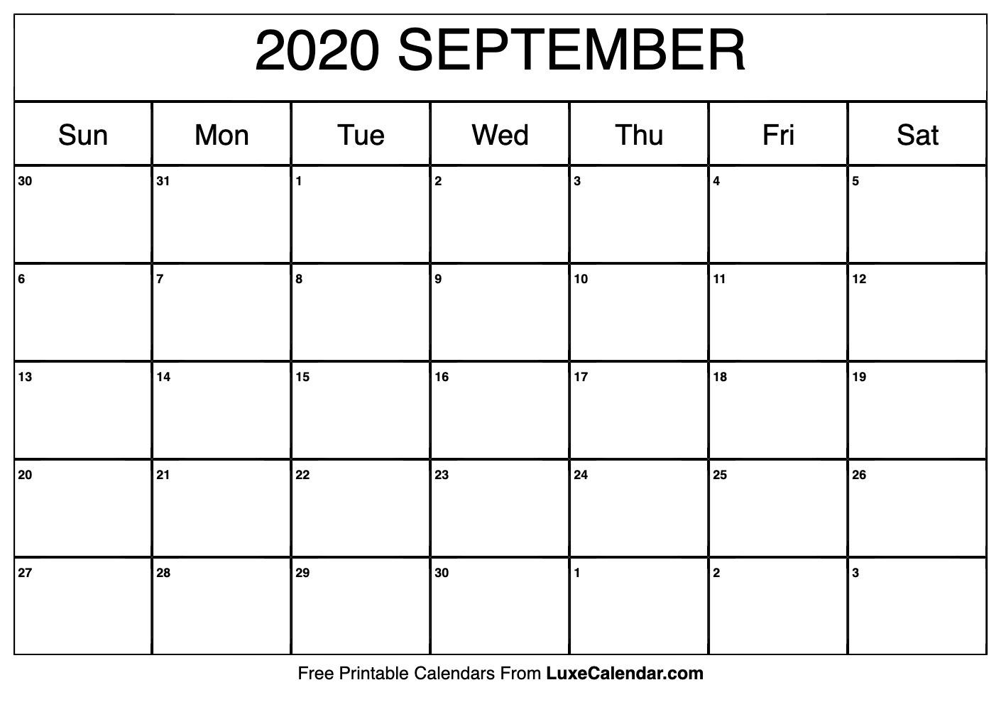 Blank September 2020 Calendar Printable - Luxe Calendar_Blank Calendar September 2020 Pdf