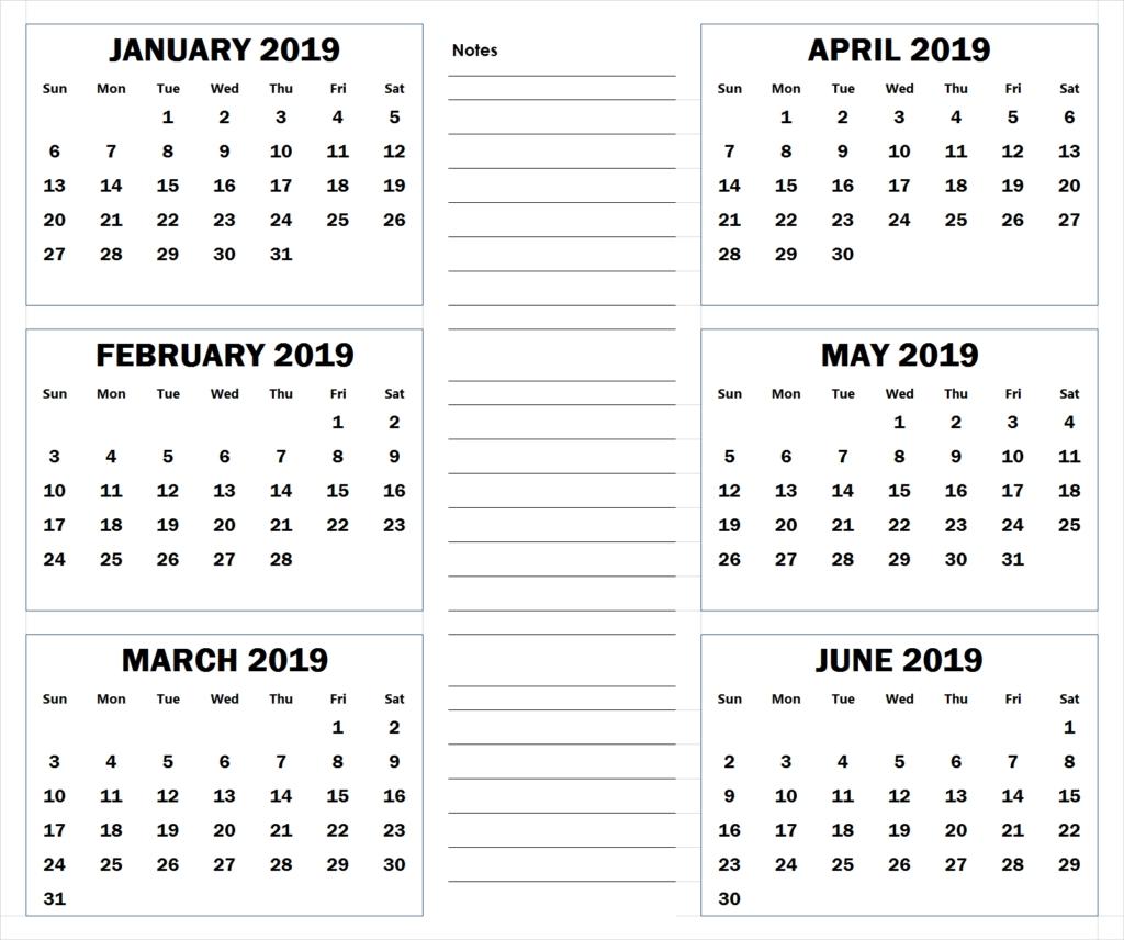 Blank Six Month 2019 Printable Calendar  </p>   </div>        <br>     <div class=