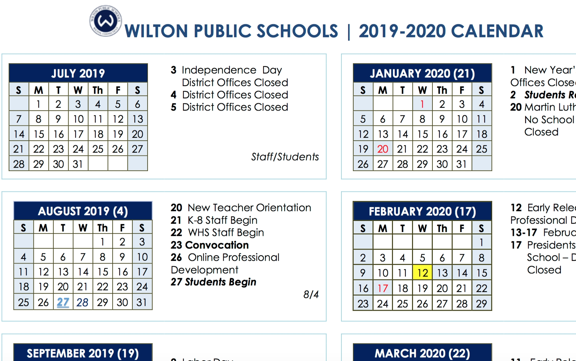 Board Of Education Approves 2019-2020 And 2020-2021 School Year_School Calendar January 2020