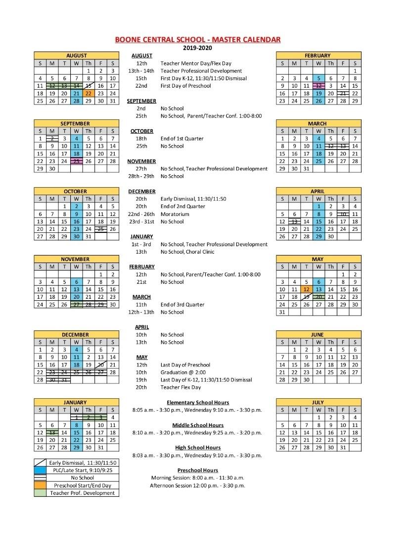 Boone Central Schools - 2019-2020 District Calendar_Year Round Calendar Jordan School District