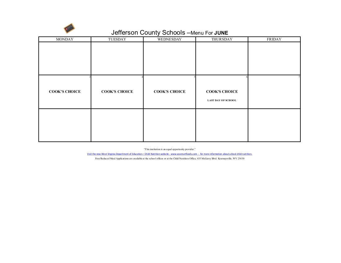 Breakfast & Lunch Menu - Jefferson County Schools_School Calendar Jefferson County Wv