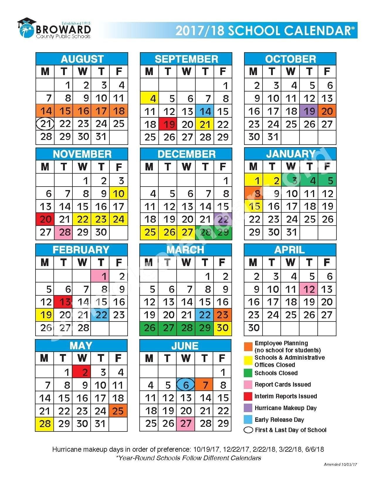 Broward School Calendar 2019 To 2019 2017 2018 District Calendar | Isacl_Calendar School 2020 Broward
