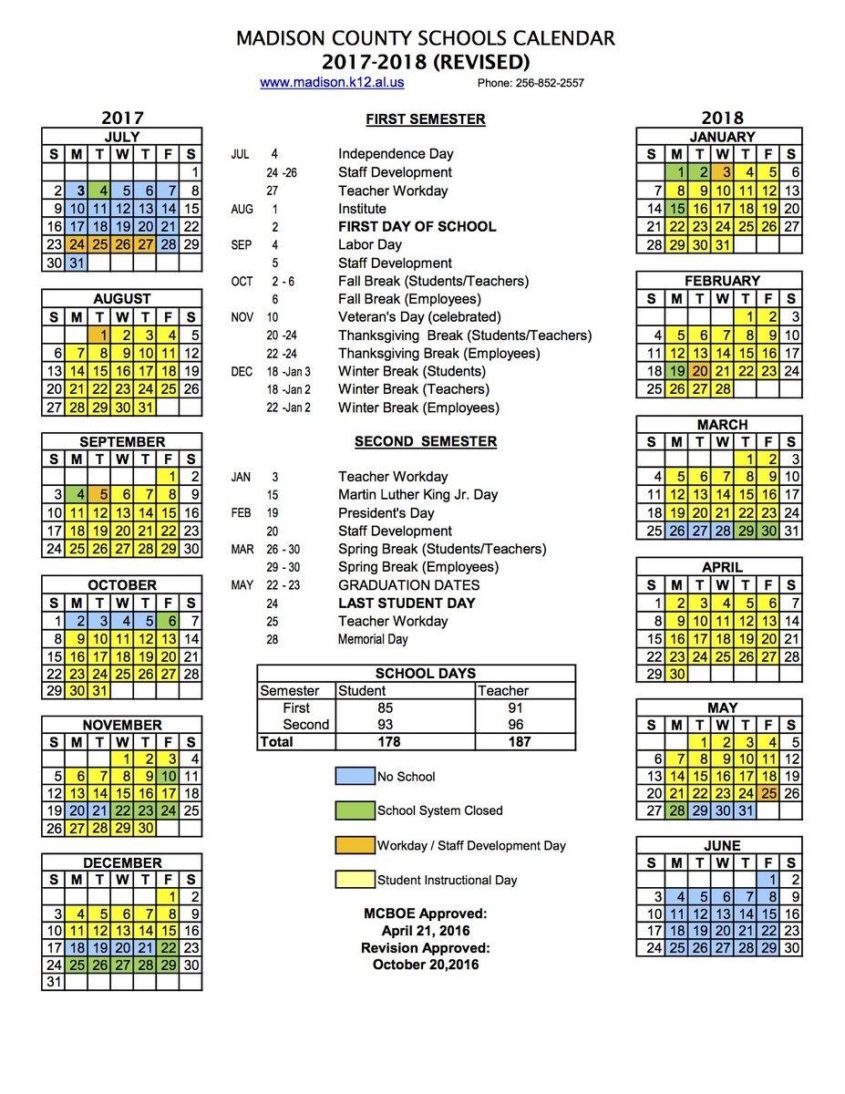 "Buckhorn High School On Twitter: ""2017-2018 Madison County Schools_Madison 1 School Calendar"