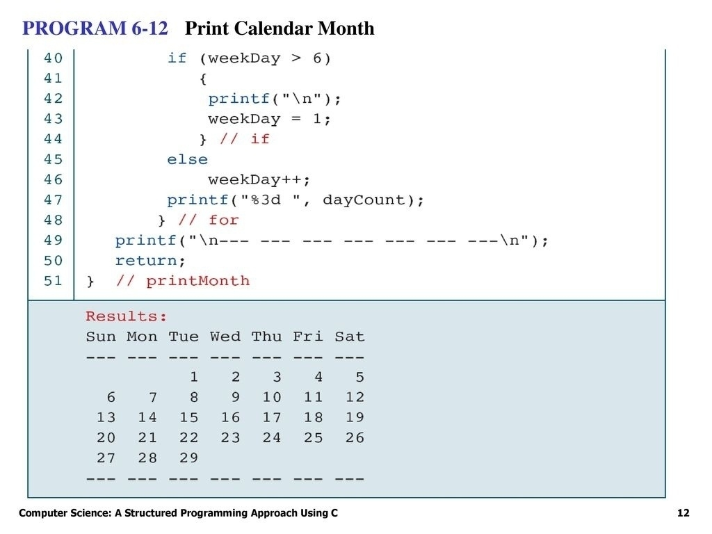 C Program For Printing Calendar • Printable Blank Calendar Template_C Program For Printing Calendar