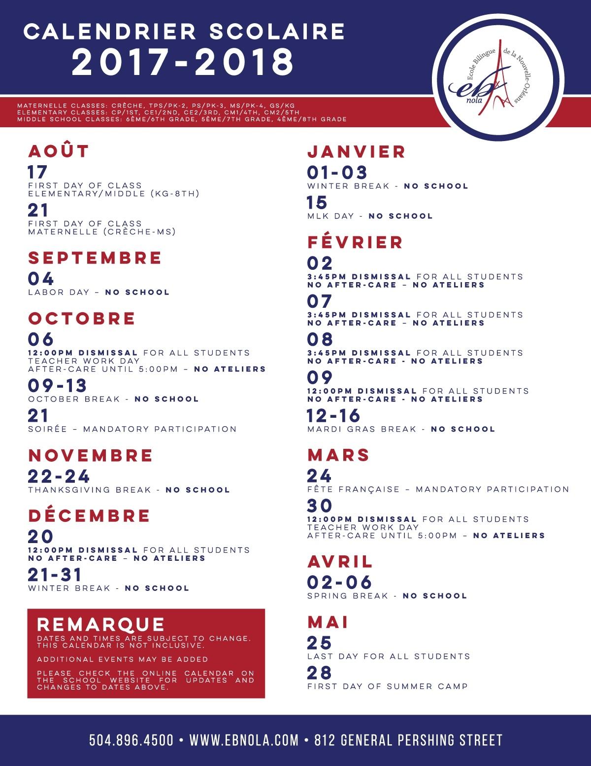 Calendar-2017-18-Fr – Bienvenue À L'ecole Bilingue De La Nouvelle_L'ecole Bilingue School Calendar