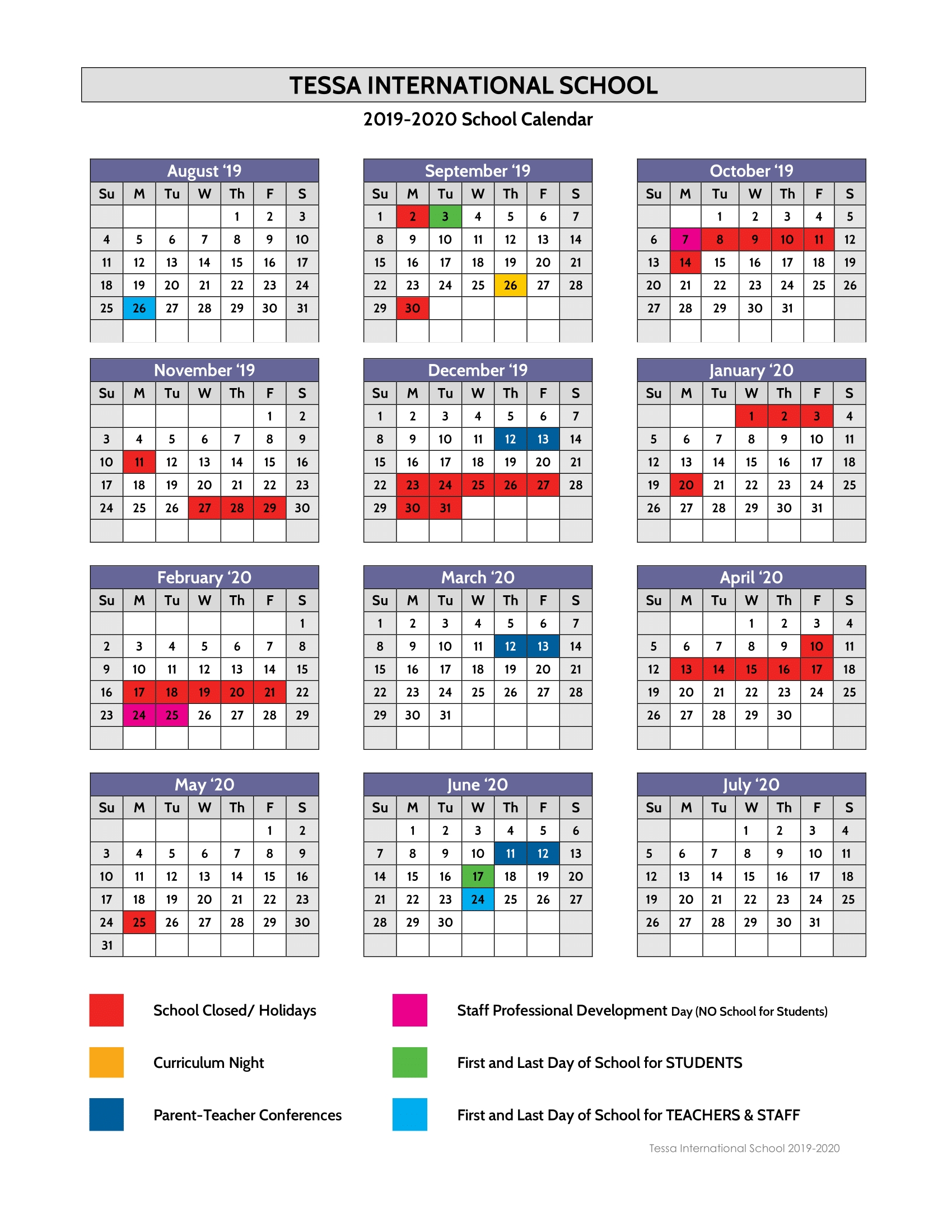 Calendar 2019-2020 - Tessa International School_Calendar School Nyc 2020