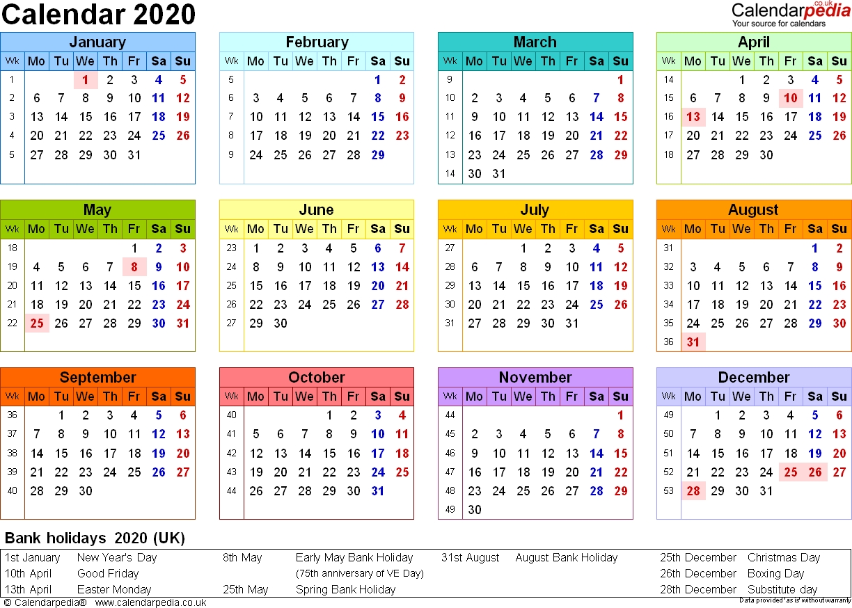 Calendar 2020 (Uk) - 16 Free Printable Pdf Templates_3 Month Blank Calendar 2020
