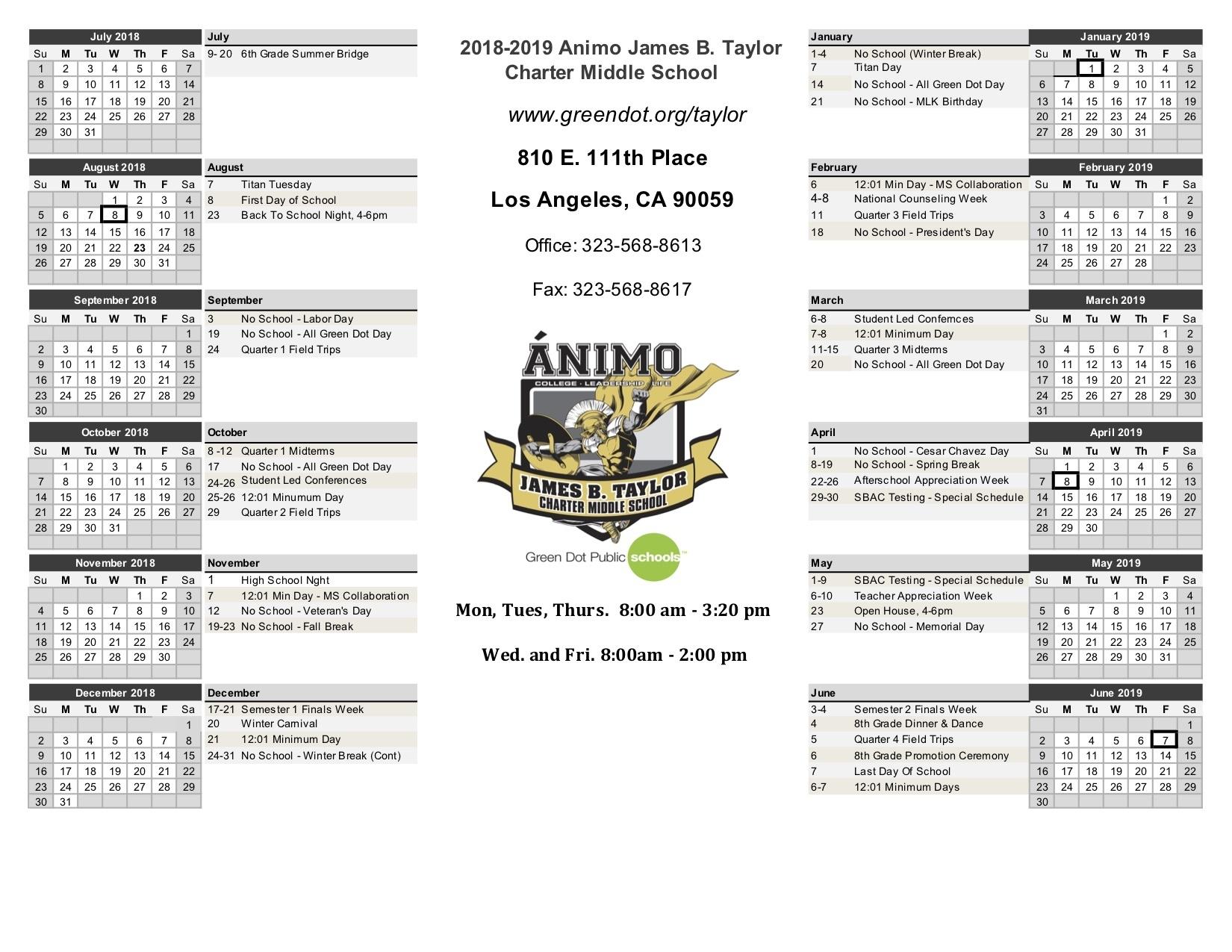 Calendar - Ánimo James B. Taylor Charter Middle School_Calendar School Los Angeles