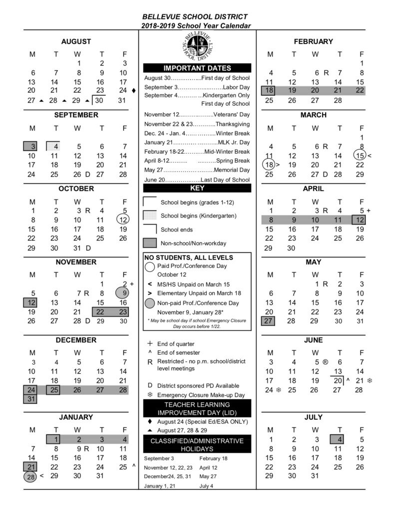 Calendar – Bellevue High School_Calendar Bellevue School District