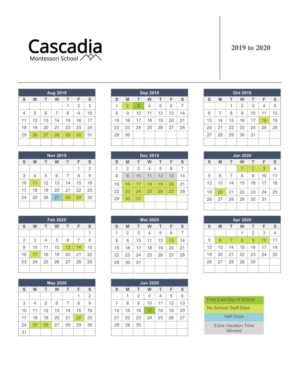 Calendar — Cascadia Montessori School_School Calendar Vancouver 2020