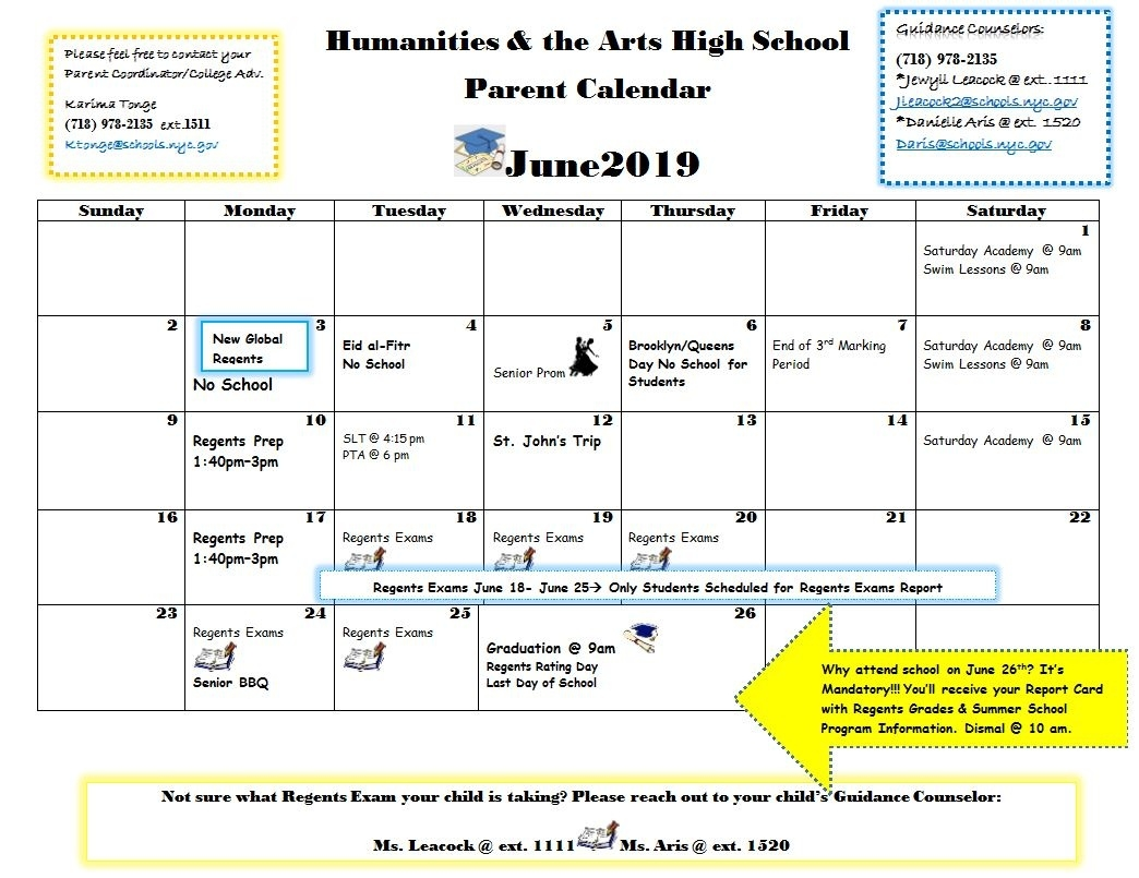 Calendar - Humanities And The Arts High School_School Calendar Queens Ny
