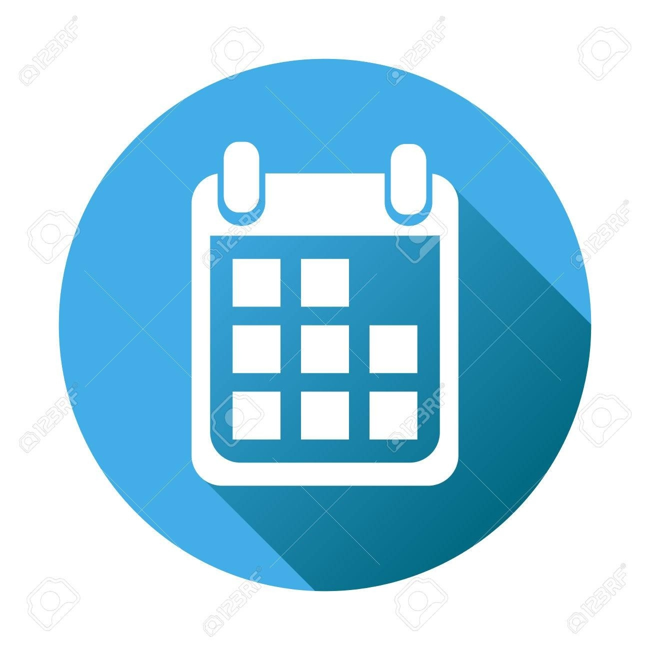 Calendar Icon On Blue Round Background, Vector Illustration_Calendar Icon For Website