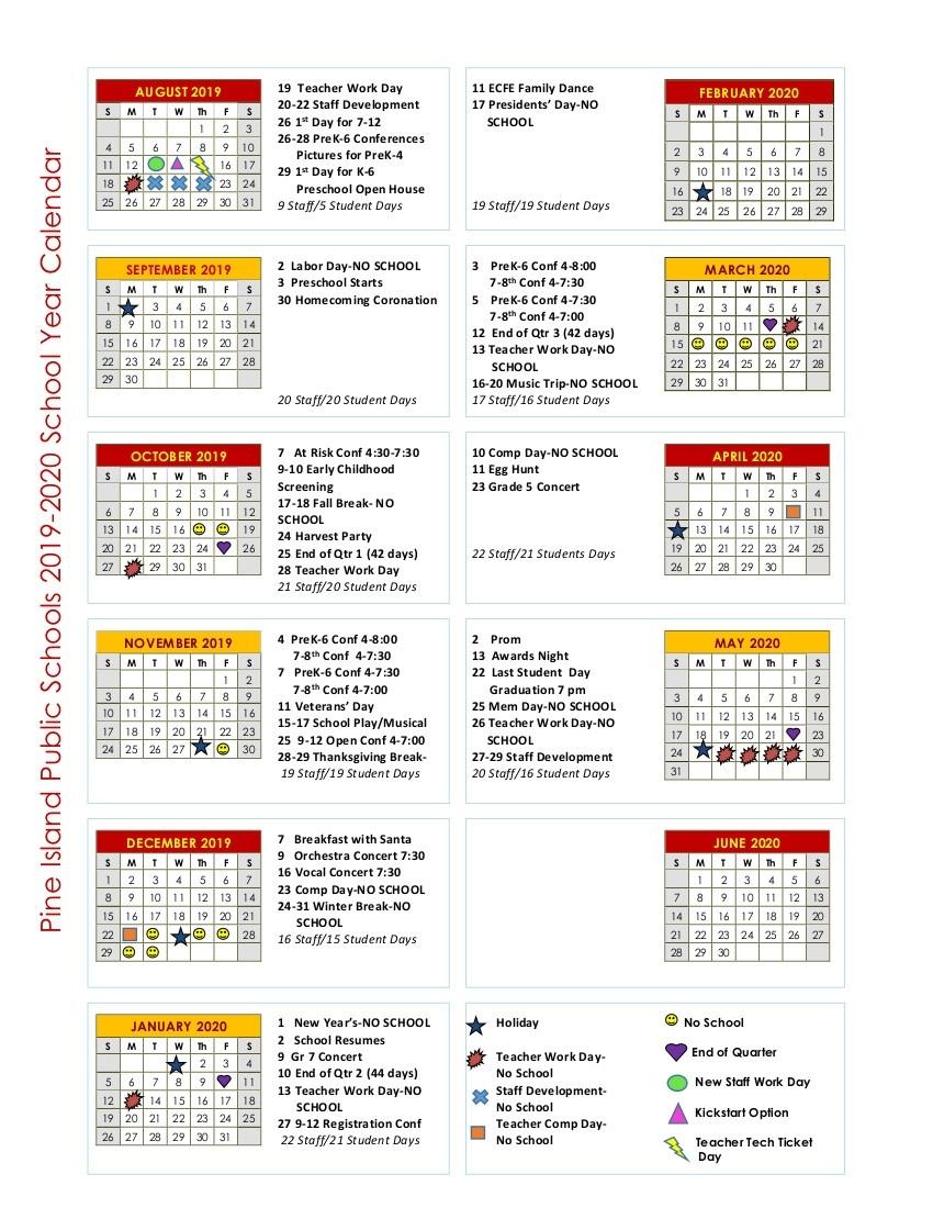 Calendar - Isd 255 - Pine Island_Pre K School Calendar