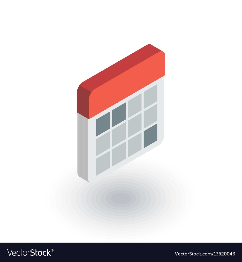 Calendar Isometric Flat Icon 3D_3D Calendar Icon Vector