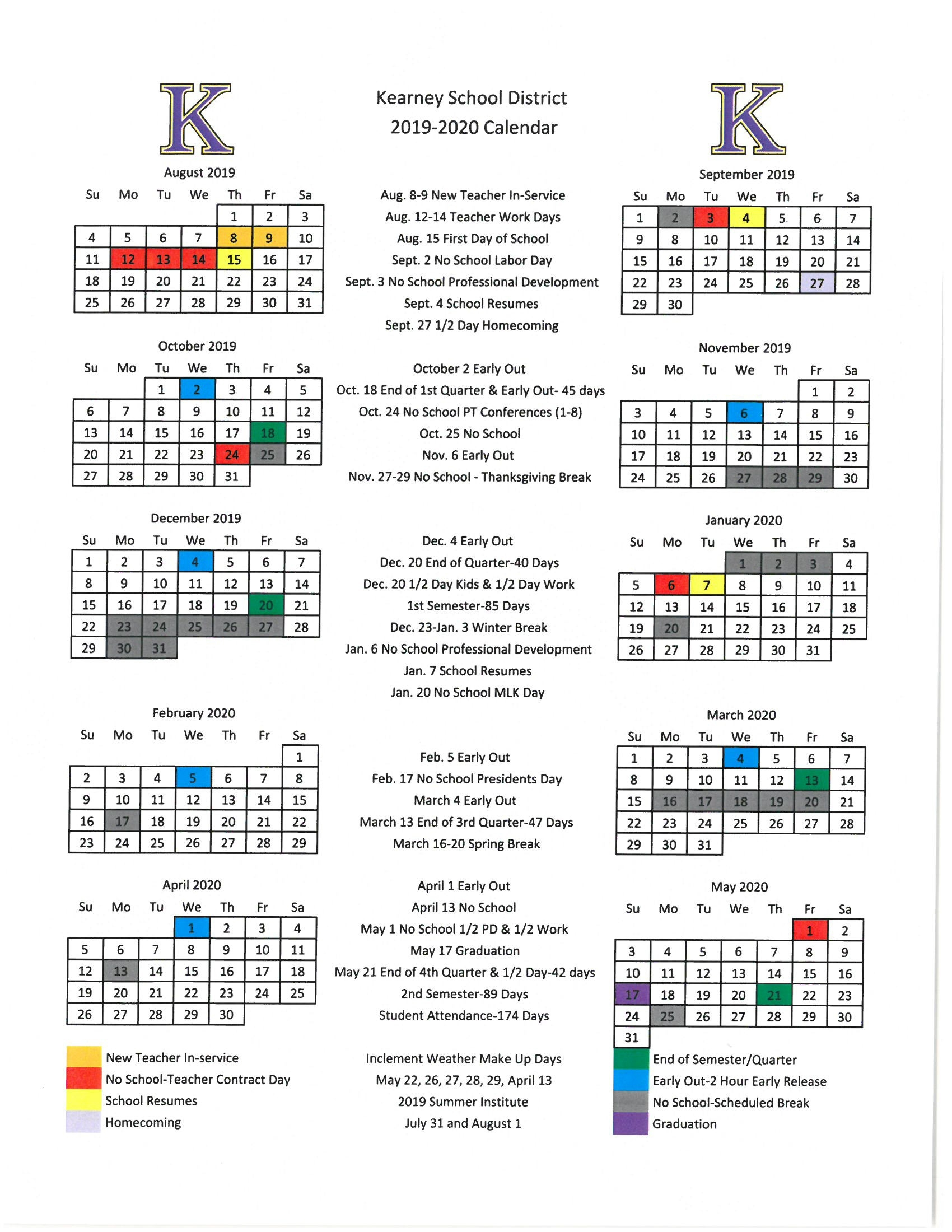 Calendar - Kearney School District_Calendar School District 42