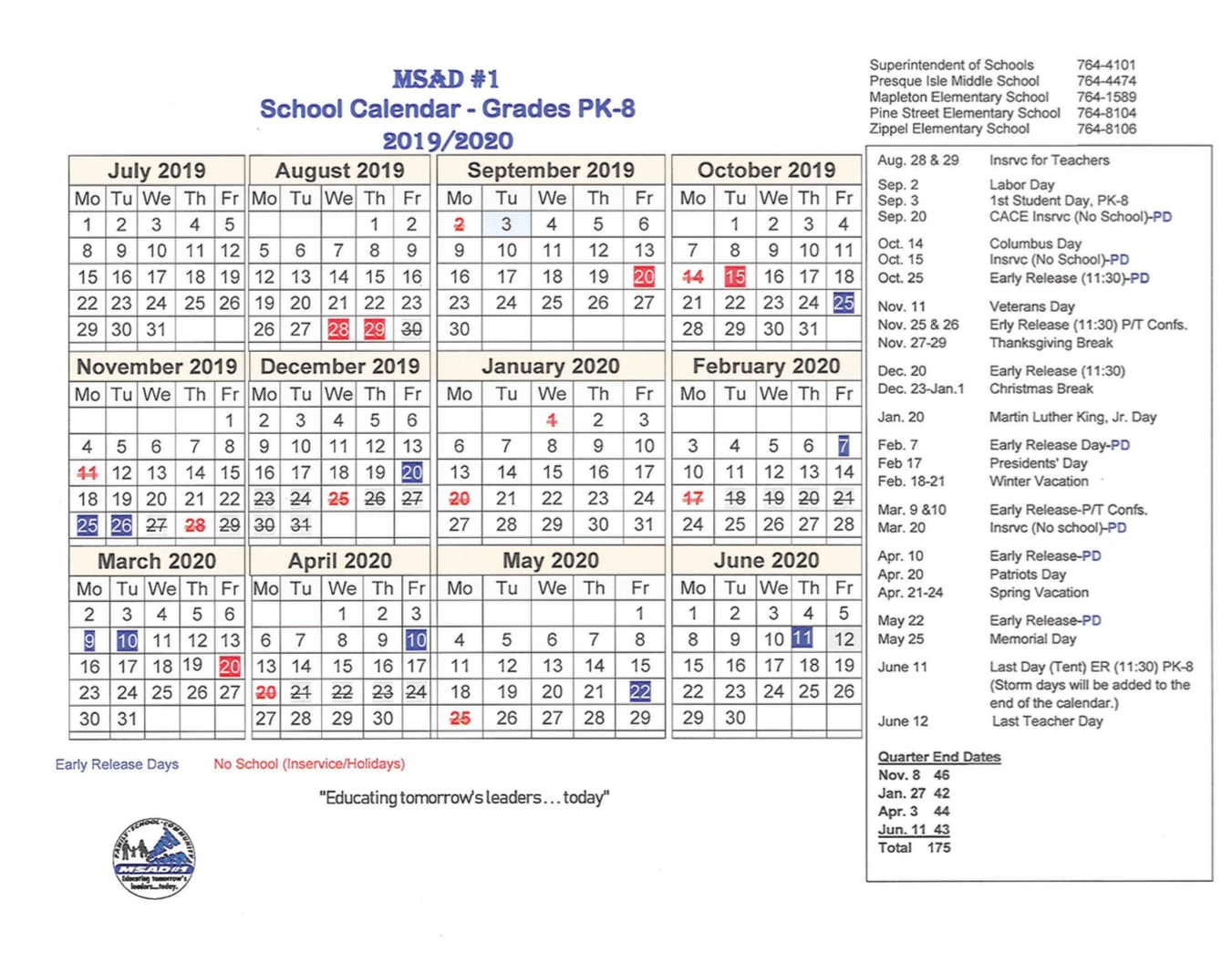 Calendar » Msad #1 Adult & Community Education_Msad 1 School Calendar