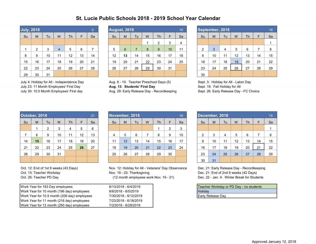 Calendar – Northport K-8_School Calendar St Lucie County