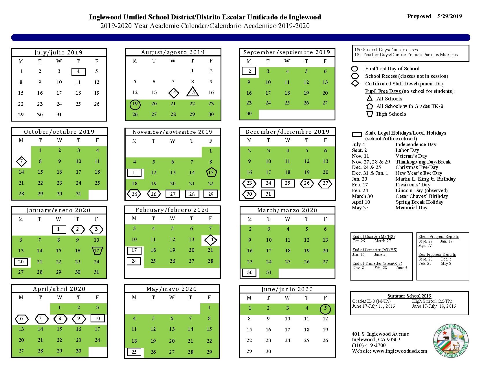Calendar – Resources – Inglewood Unified School District_Calendar School Los Angeles