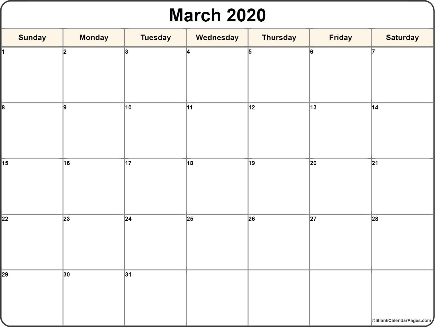 Calendar Template 2020 | One Page Calendar Printable_Blank Calendar Sheets 2020