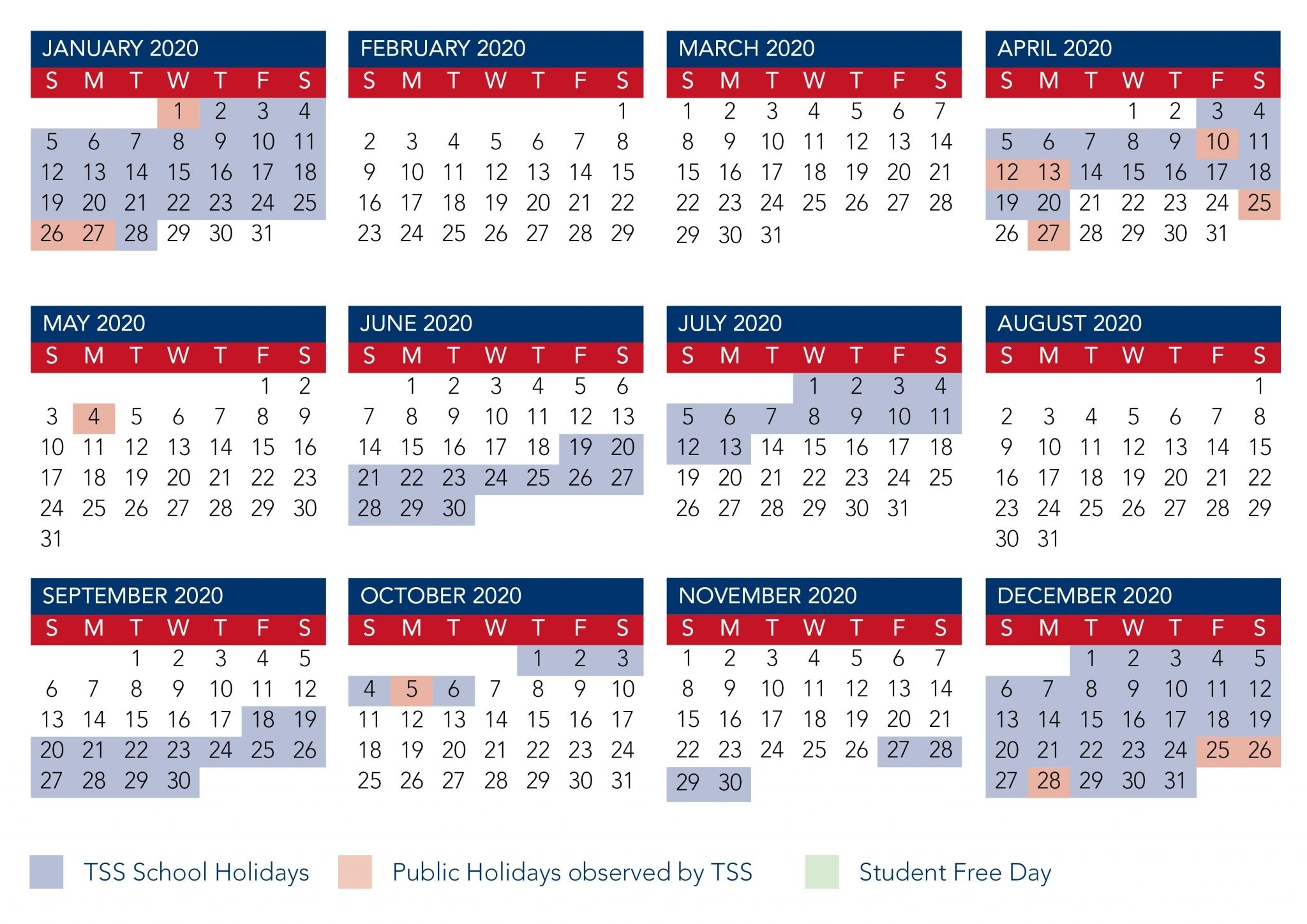 Calendar | The Southport School_School Calendar 2020 Qld