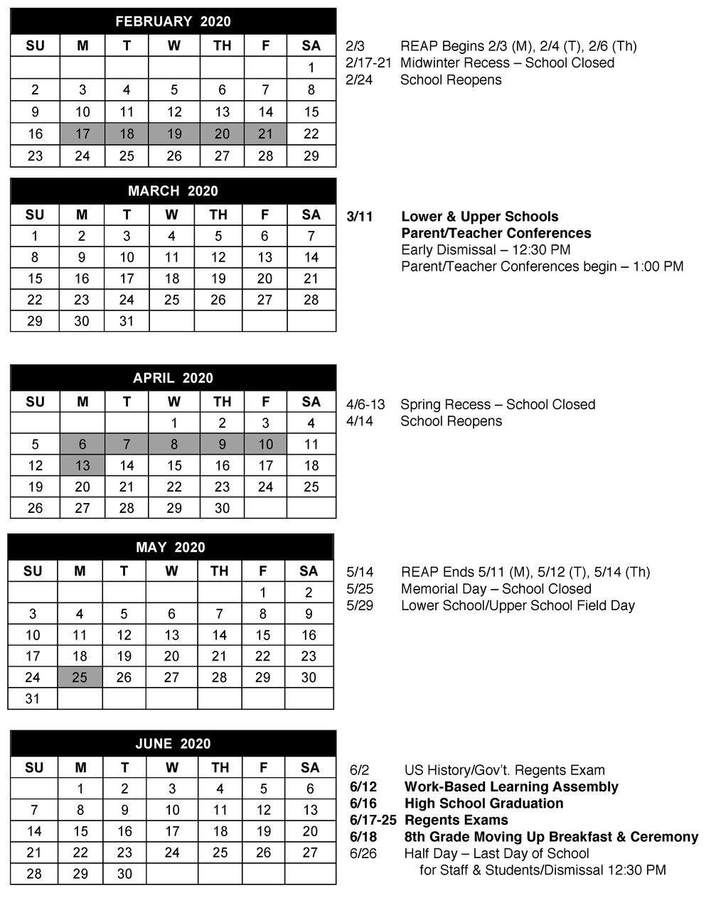 Calendar — The Summit School_School Calendar Queens Ny