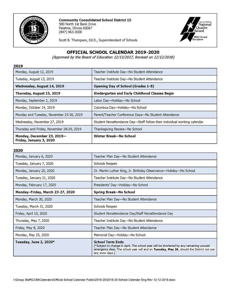 Calendars / 2019-20 Official School Calendar_District 8 School Calendar