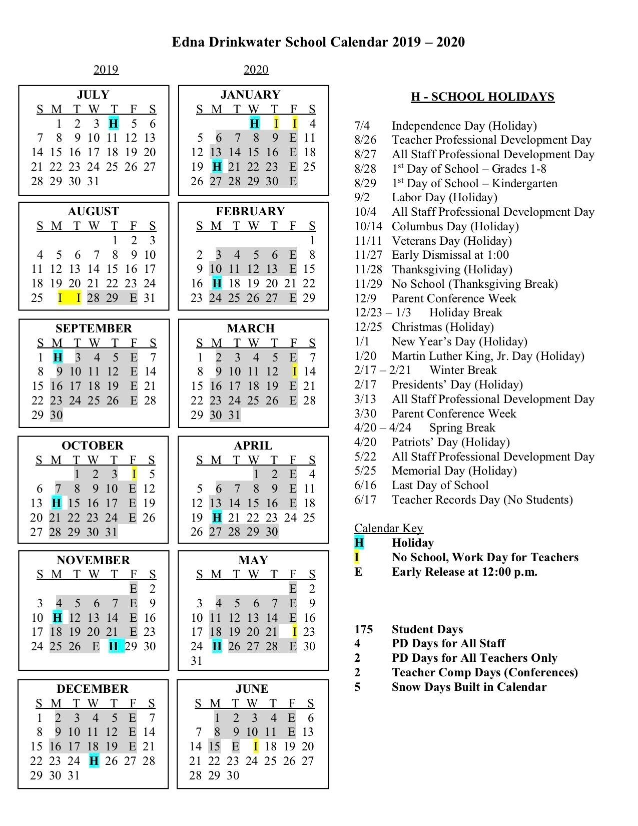 Calendars - Edna Drinkwater School_Northport K-8 School Calendar
