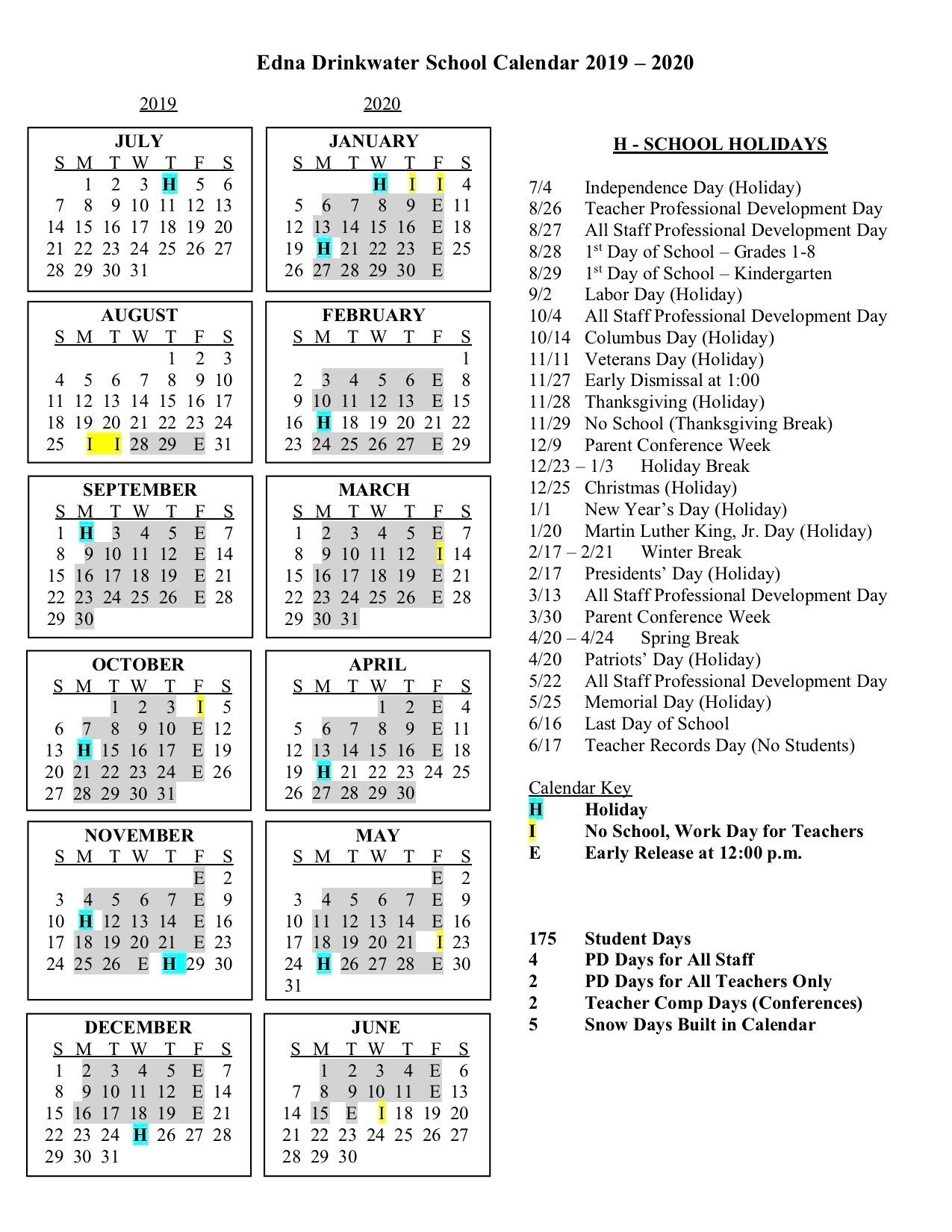 Calendars - Edna Drinkwater School_Rsu 5 School Calendar