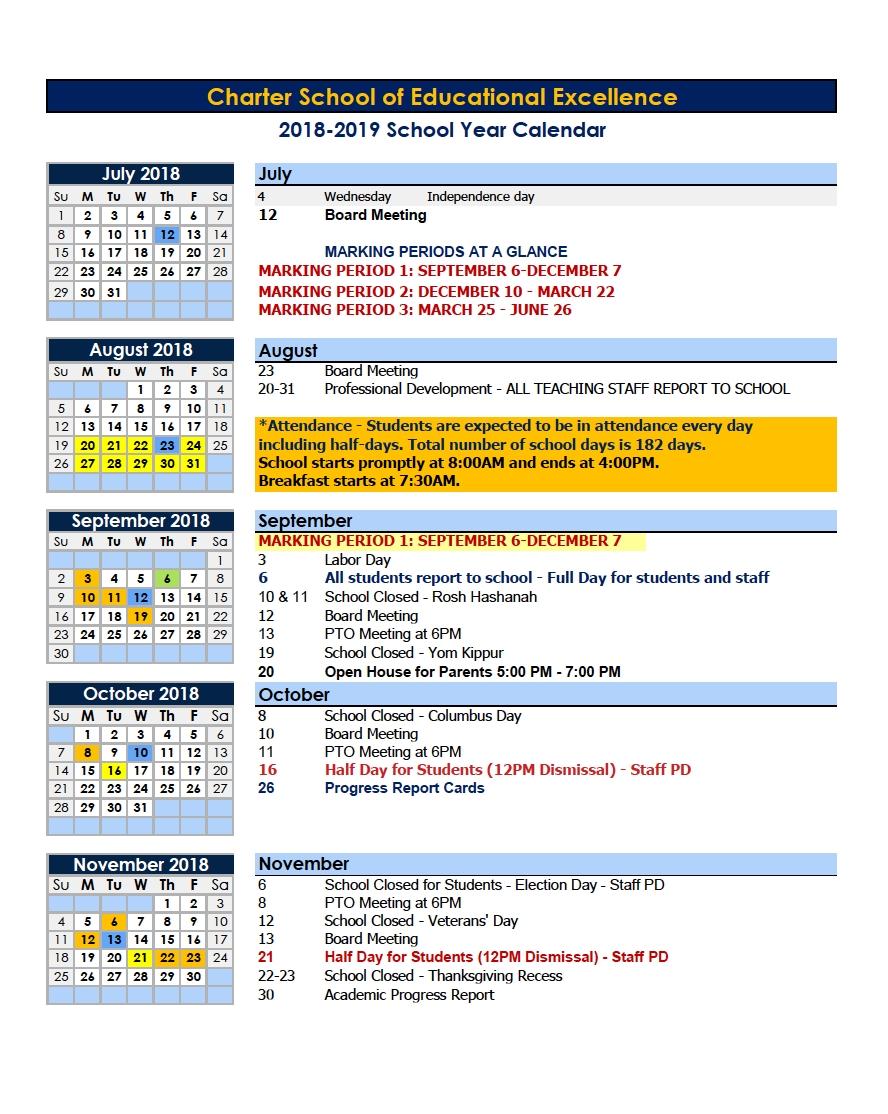 Calendars – Parents – Charter School Of Educational Excellence_Calendar School Nyc 2020