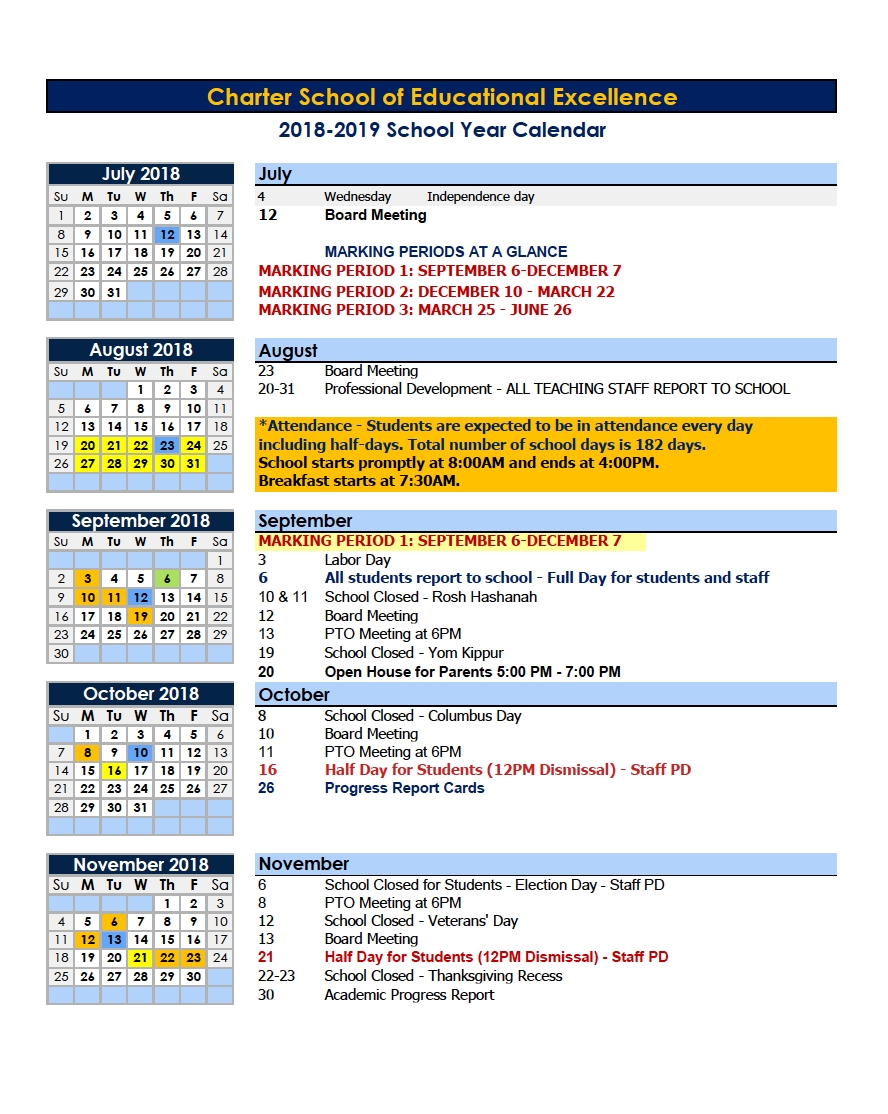 Calendars – Parents – Charter School Of Educational Excellence_Calendar School Year 2020 Nyc