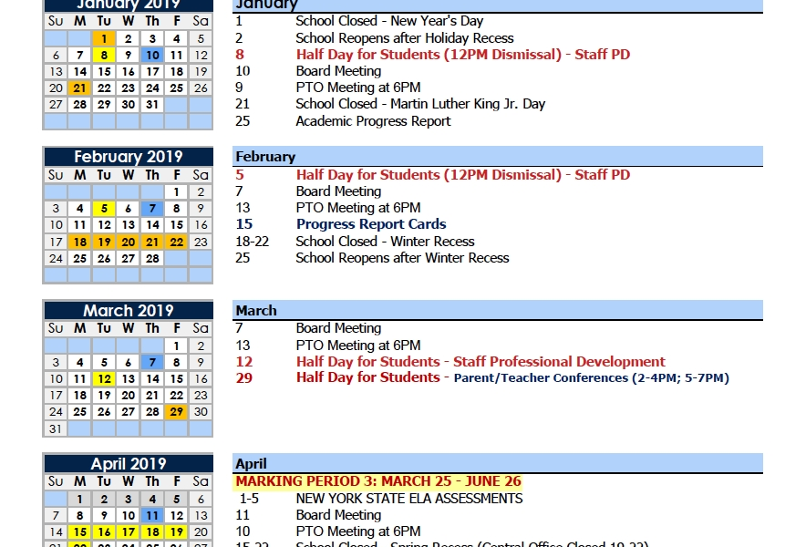 Calendars – Parents – Charter School Of Educational Excellence_M State School Calendar