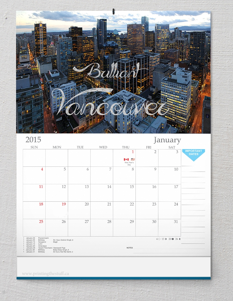 Calendars_Photo Calendar Printing Vancouver