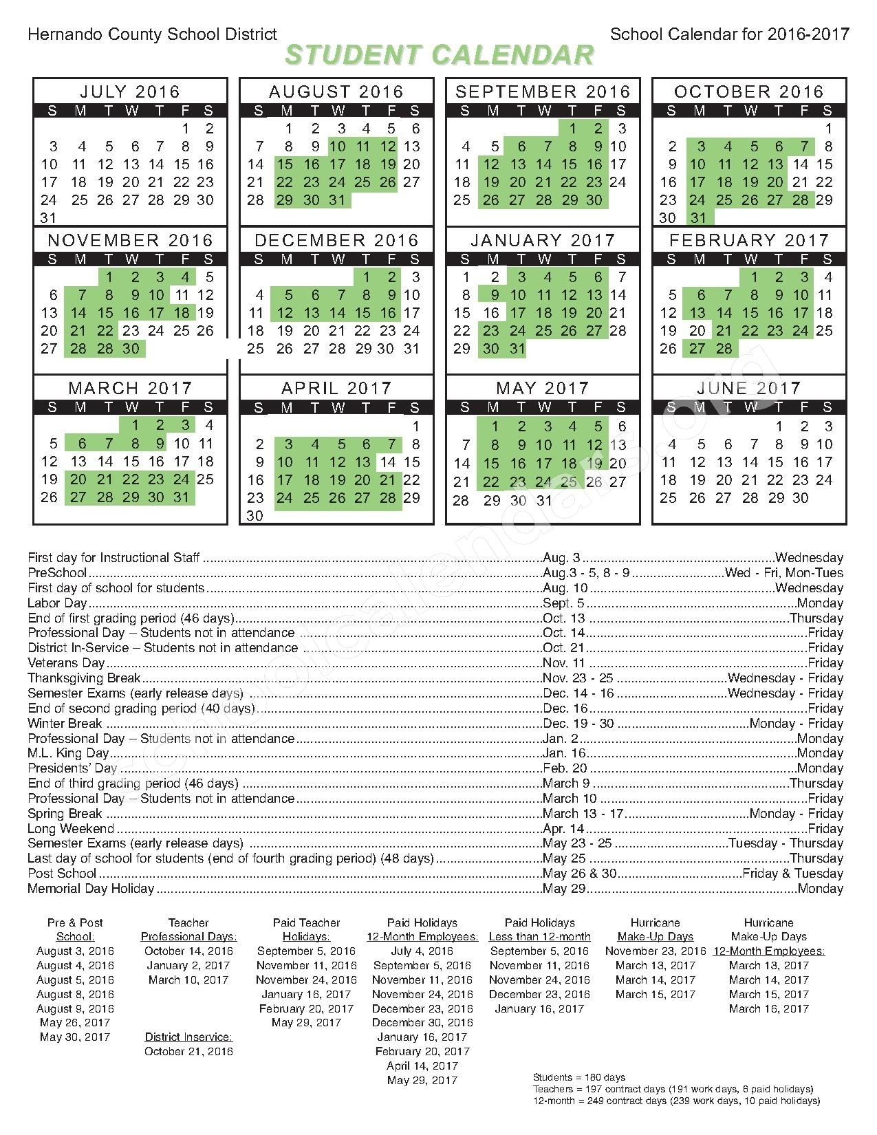 Challenger K-8 School Of Science And Math Calendars – Spring Hill, Fl_Challenger K-8 School Calendar