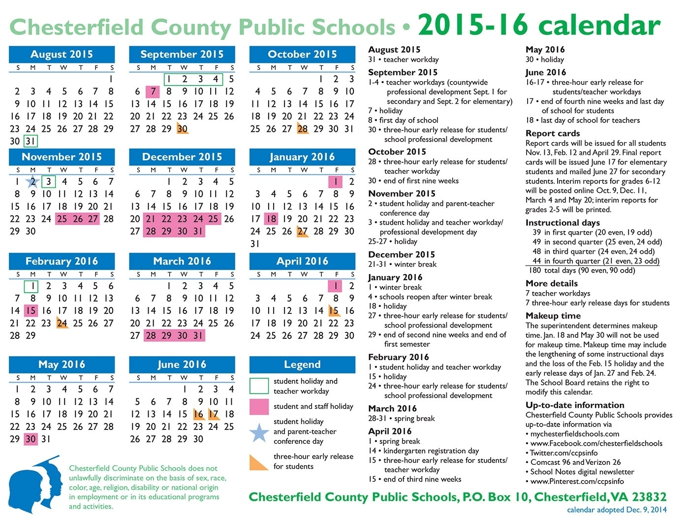 Chesterfield County School Calendar | Isacl_School Calendar Chesterfield County