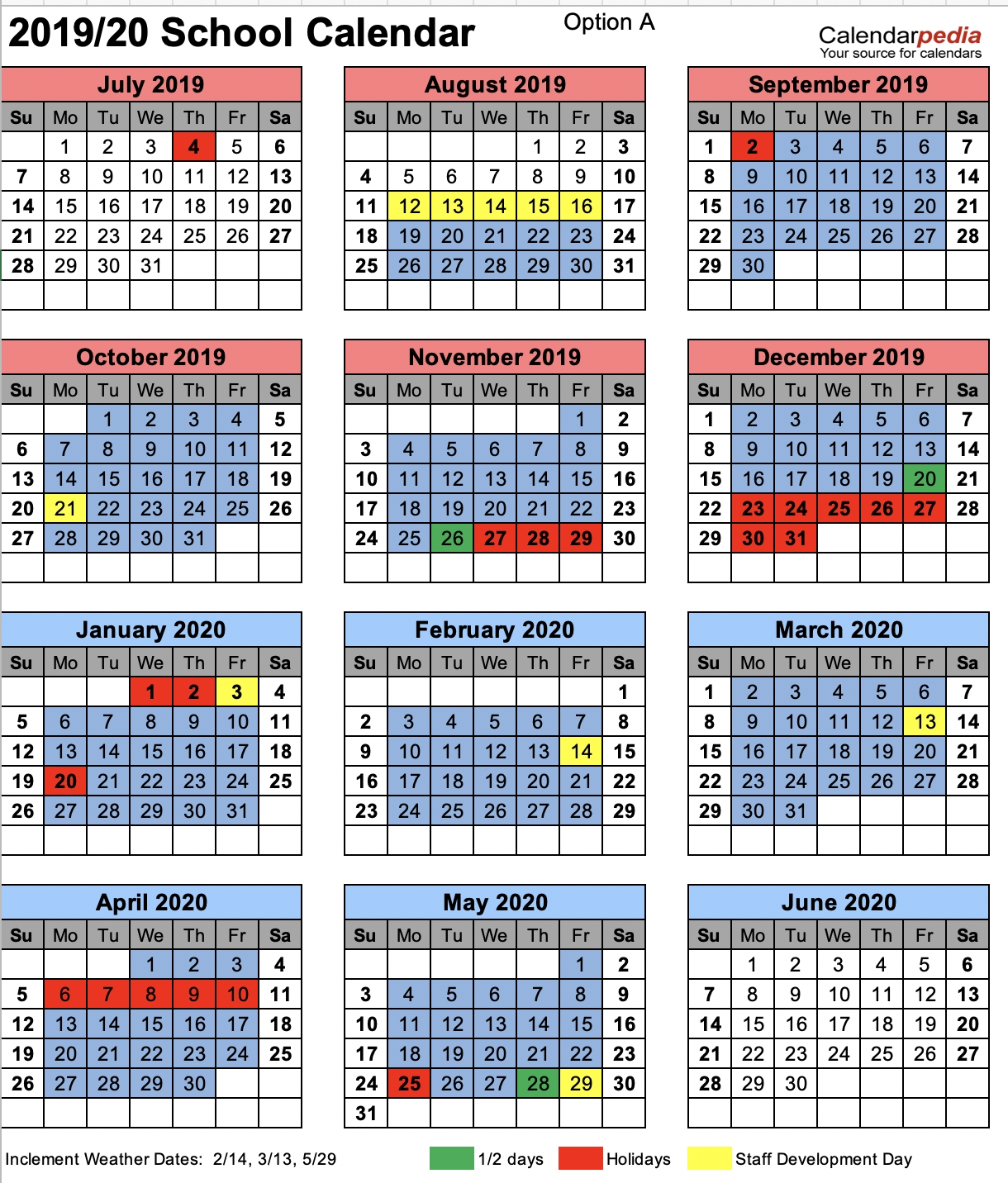 Chesterfield County School District_District 6 School Calendar 2020