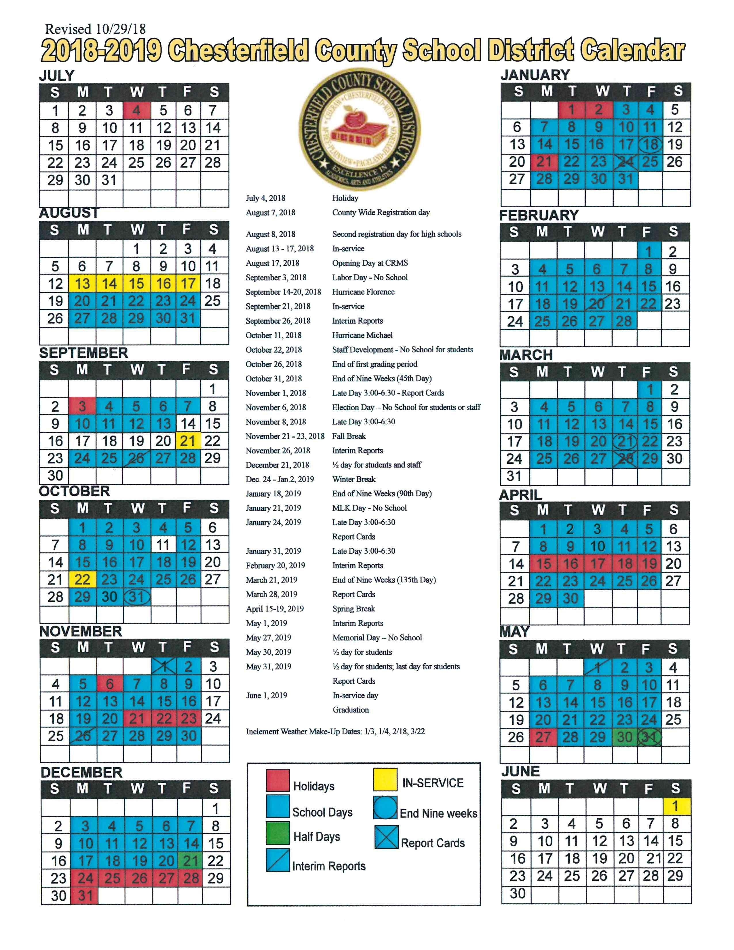 Chesterfield High School_School Calendar Chesterfield County