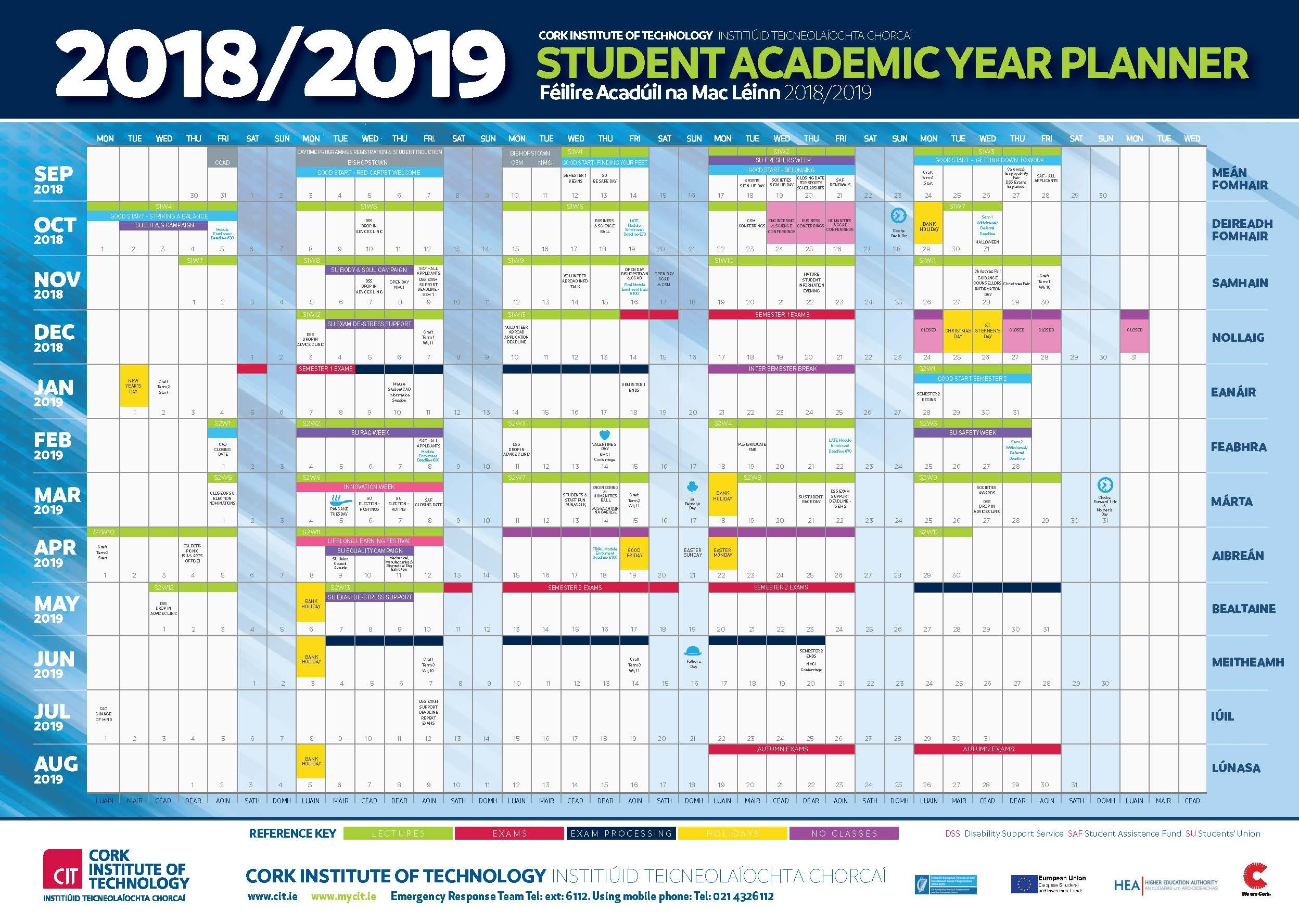 Cit - Cork Institute Of Technology - Semester Dates And Calendar_U Of A School Year Calendar