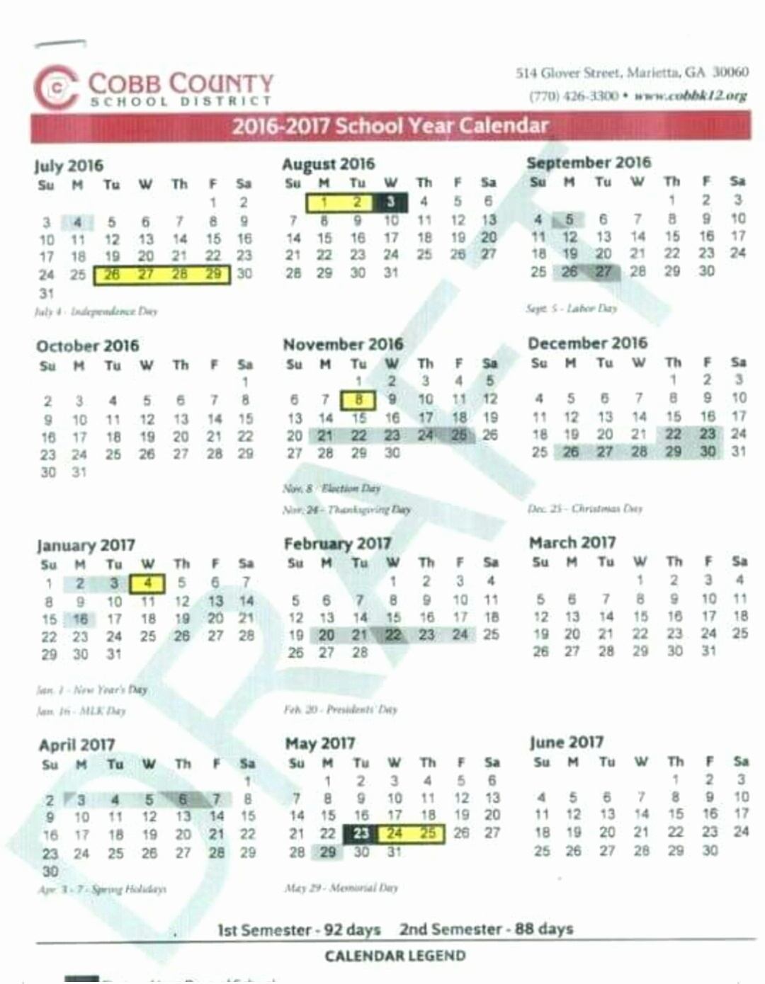 Cobb Calendar 2019_School Calendar 2020-18 Nyc
