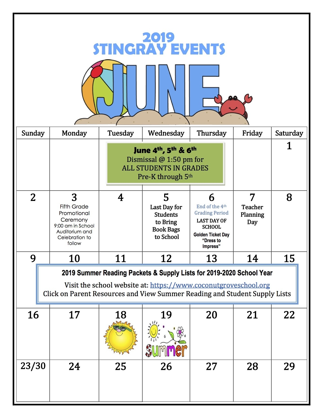 Coconut Grove Elementary School_Calendar School 2020 Broward