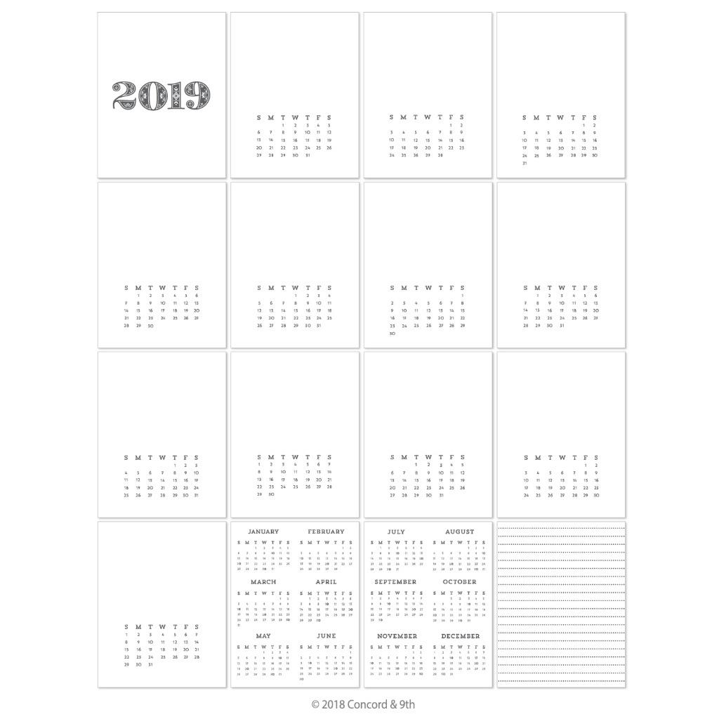 Concord & 9Th Cardstock, 2019 Calendar (Pre-Printed) In Vancouver_Photo Calendar Printing Vancouver