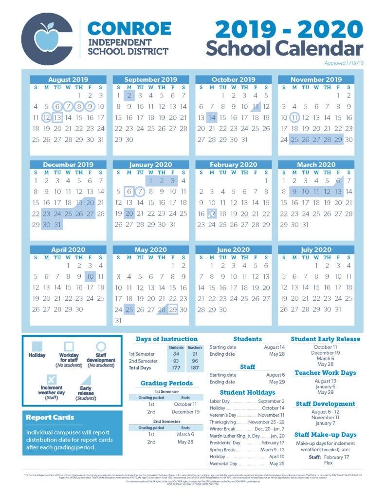 Conroe Isd Trustees Approve 19-20 School Calendar - Conroe Isd_Calendar School Nyc 2020