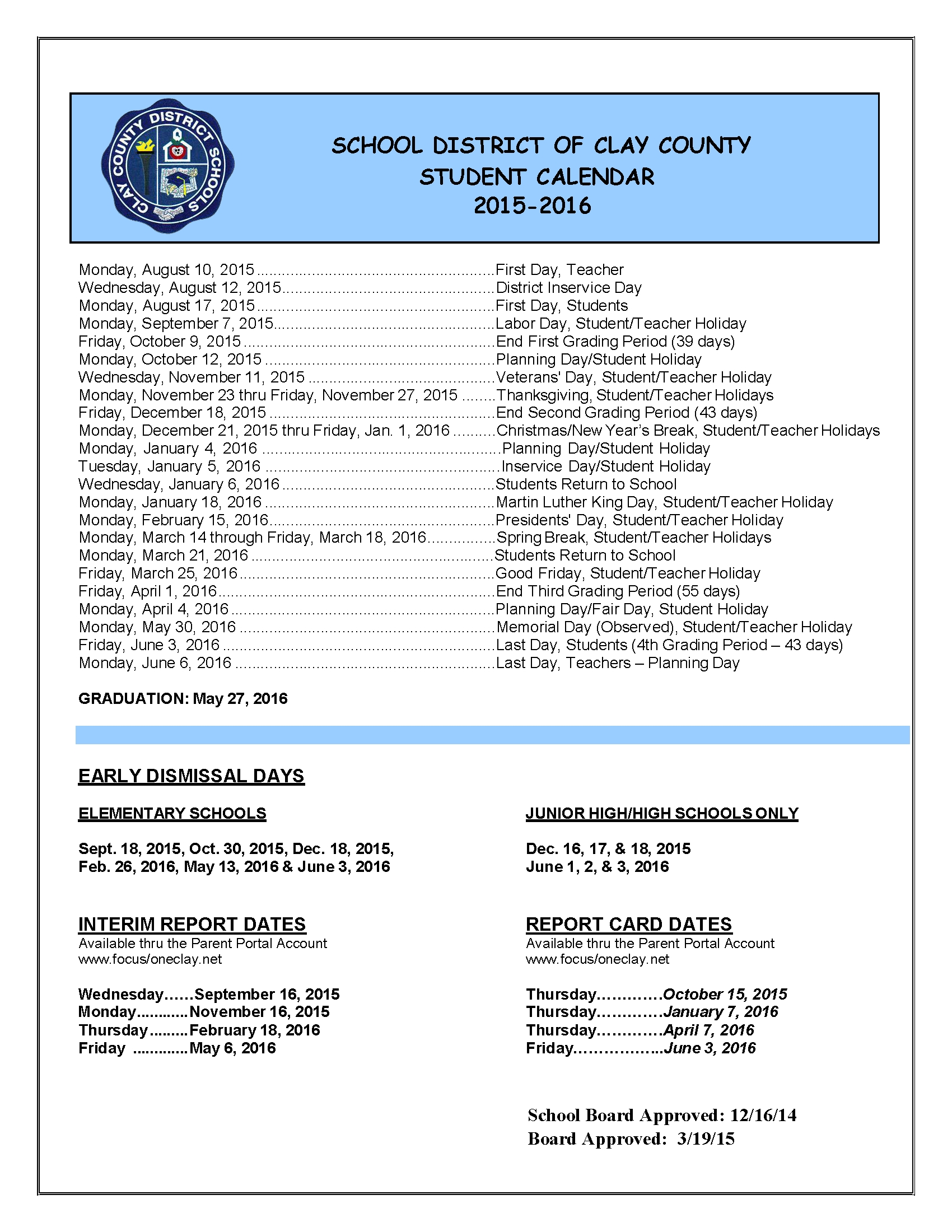 Contact Me - Welcome To Language Arts_School Calendar Clay County