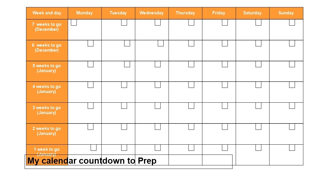 Countdown Calendar In Weeks • Printable Blank Calendar Template_Countdown Calendar In Weeks