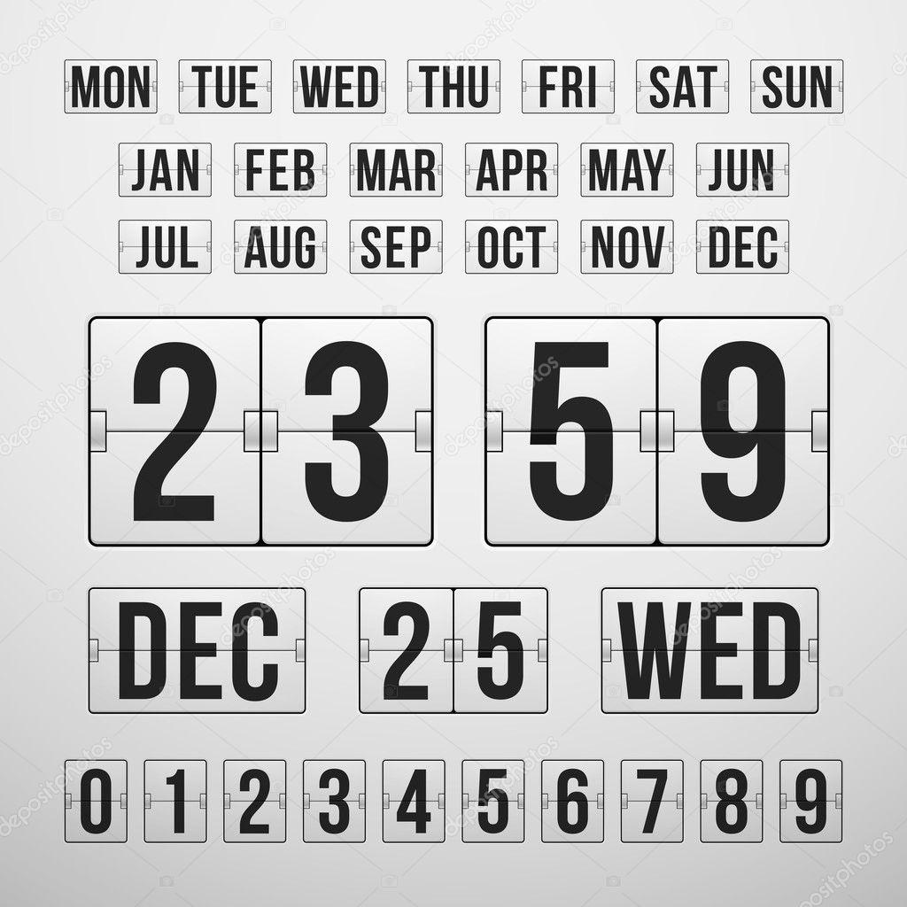 Countdown Timer And Date, Calendar Scoreboard — Stock Vector_Calendar Countdown Between Dates