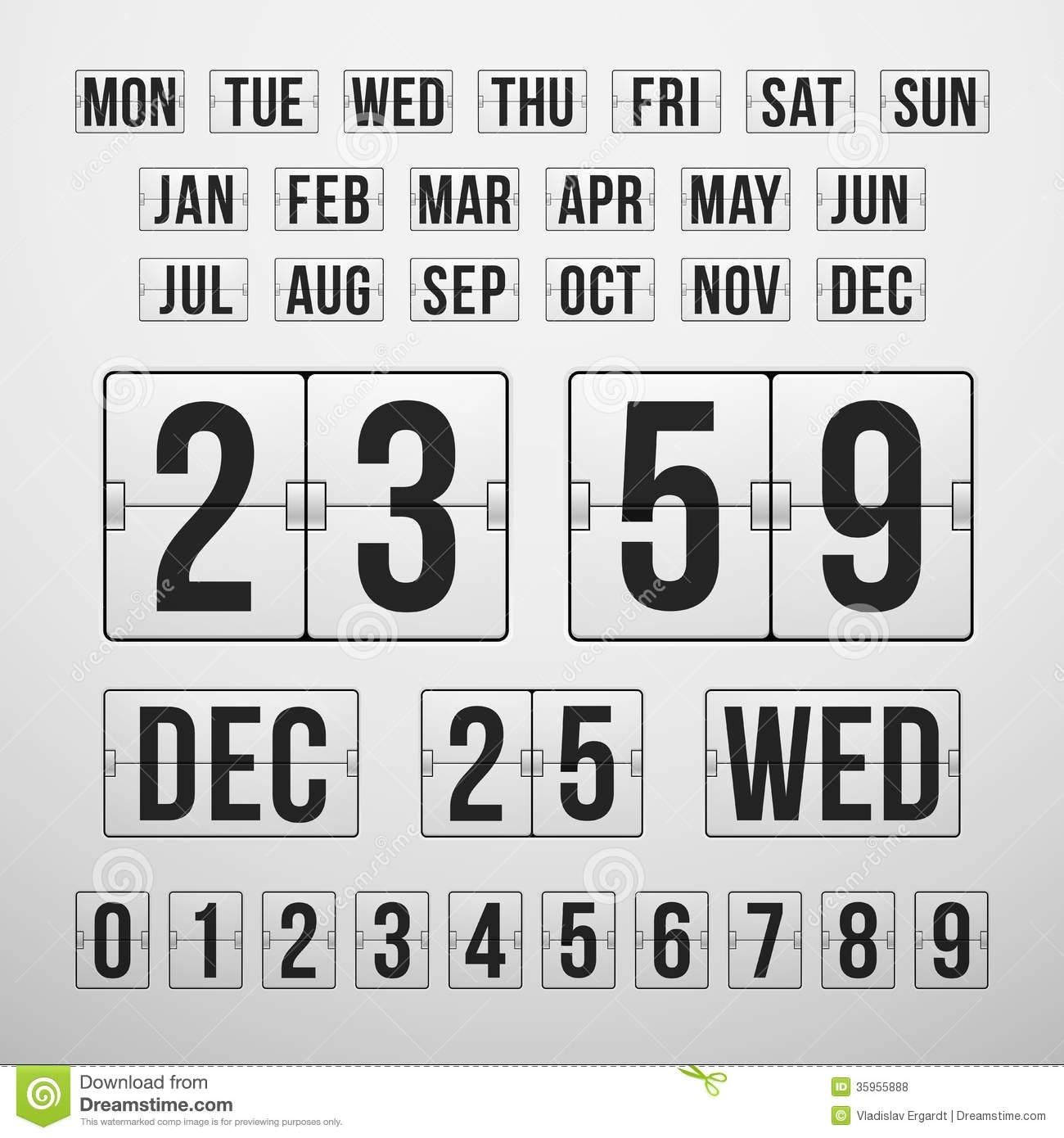 Countdown Timer And Date, Calendar Scoreboard Stock Vector_Calendar Countdown Free Download